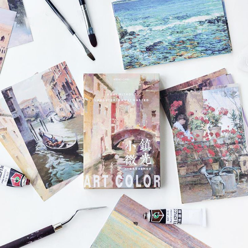 30sheets/pack hot Small Town shimmer Literature and art christmas greeting cards postcards set Gift Card Post card майка print bar animal power