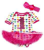 Sevgililer Sıcak Pembe Sparkle 1ST Gökkuşağı Kalp Bodysuit Sıcak Pembe Bebek Elbise NB MAJSA0297