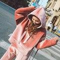 BringBring 2017 Moda Primavera Y el Otoño Harajuku Mujeres Pink Velvet Hoodies Causal Loose Sudadera y Pantalones 1801