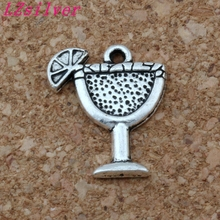 100pcs Antiqued Silver Alloy Single-sided design Margarita Drink cup Charm 14x17MM DIY Jewelry A-149
