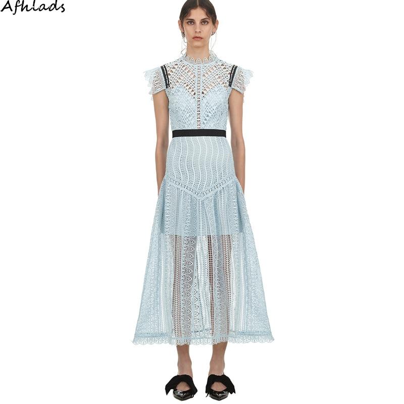 Self portrait New hollow out patchwork lace dress luxury brand dress slim short sleeve waist Designer vestidos maxi dress