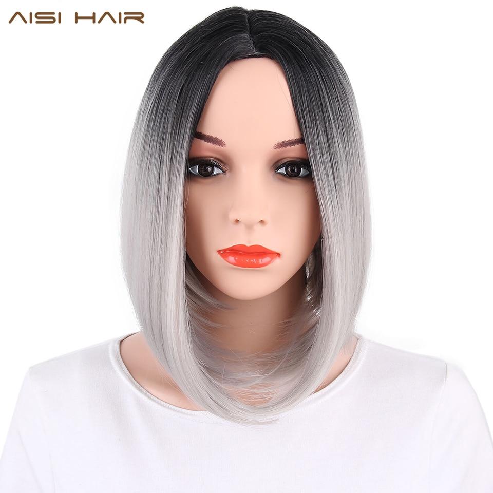 AISI HAIR Syntetisk Ombre Grå Hår Bob Style Korta Paryk till Kvinnor Svart och Rosa Hairs