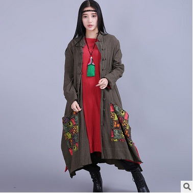 In the spring of 2017 new products, national wind original design 100% cotton linen loose big yards Women long dust coat