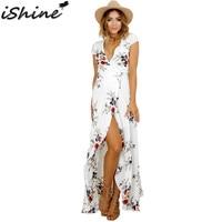 IShine Summer Deep V Neck Sexy Wrap Chest Bandage Women Chiffon Maxi Dress Elegant Split White