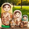 5 pcs Linda Boneca Do Assentamento Do Russo De Madeira Tradicional Toy Coleccionáveis Handmade Russo Desejando Dolls
