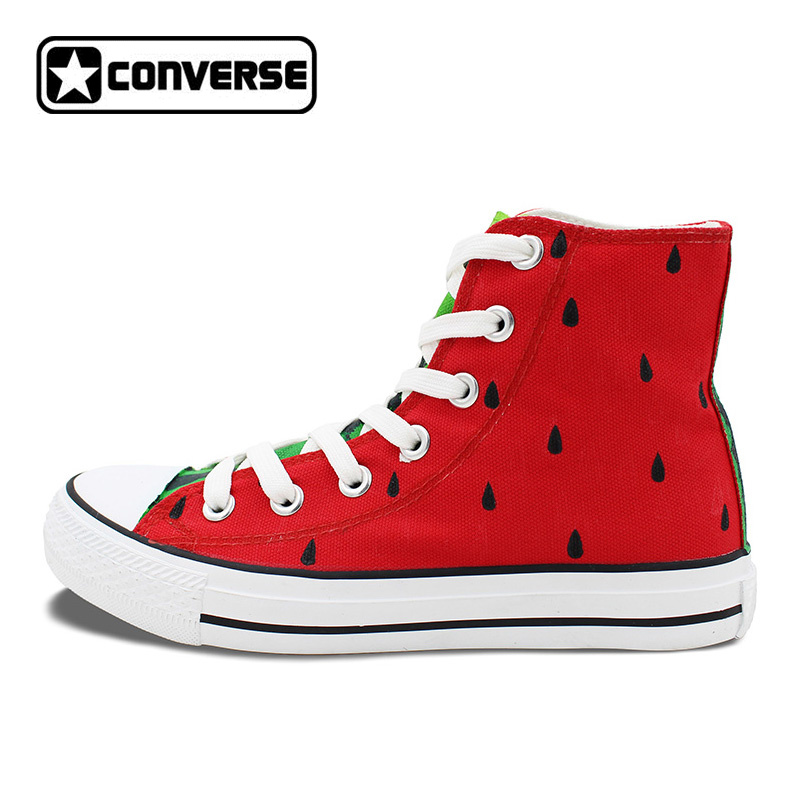 Original Design Hand Painted Shoes Converse Chuck Taylor Watermelon Girls Boys High Top Canvas Sneaker Gifts for Men Women converse chuck taylor women men shoes anime tokyo ghouls custom design hand painted shoes high top white sneakers cosplay gifts