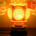 Antique LED Table Lamp Wooden Holder Beautiful Night Light Jingdezhen Ceramic Lamp Art Deco Lamp