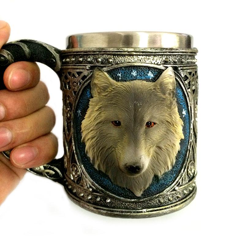 Horror 3D Realistic Wolf King Skull Mugs Double Wall Stainless Steel Animal Wolf Resin Mug Cup Geek Coffee Cup Christmas Gift 5