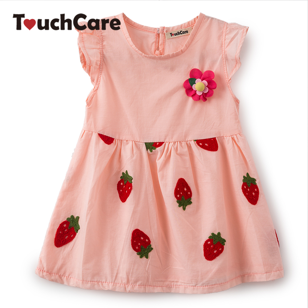 Clearance Strawberry Print Newborn Baby Girl Dress Corsage Flying Sleeve Baby Dress Princess Baby Girl Clothes Vestido Infantil