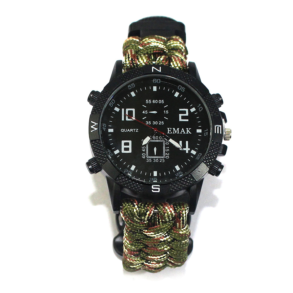 Outdoor Multi-purpose Mountaineering Watch MEN Rechargeable 2km Infrared SOS LED Light Paracord Compass Whistle Reflector