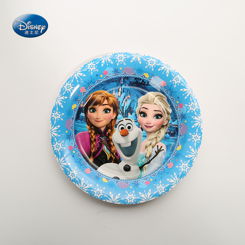 Party Supplies 6Pcs 7inch Plates Frozen Theme Party Disposable Paper Plates Dishes White Cardboard With Food Film
