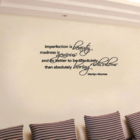 Imperfection Beauty Genius marilyn monroe wall decals wall decals vinyl stickers home decor living room decoration