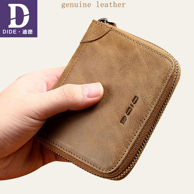 DIDE 100% Genuine Leather Wallet Men Wallets Vintage Short Coin Purse Small Wallet Cowhide Card Holder Pocket Purse DQ657 aoeo genuine leather men wallets short coin purse small vintage wallet cowhide leather card holder pocket purse men wallets mini