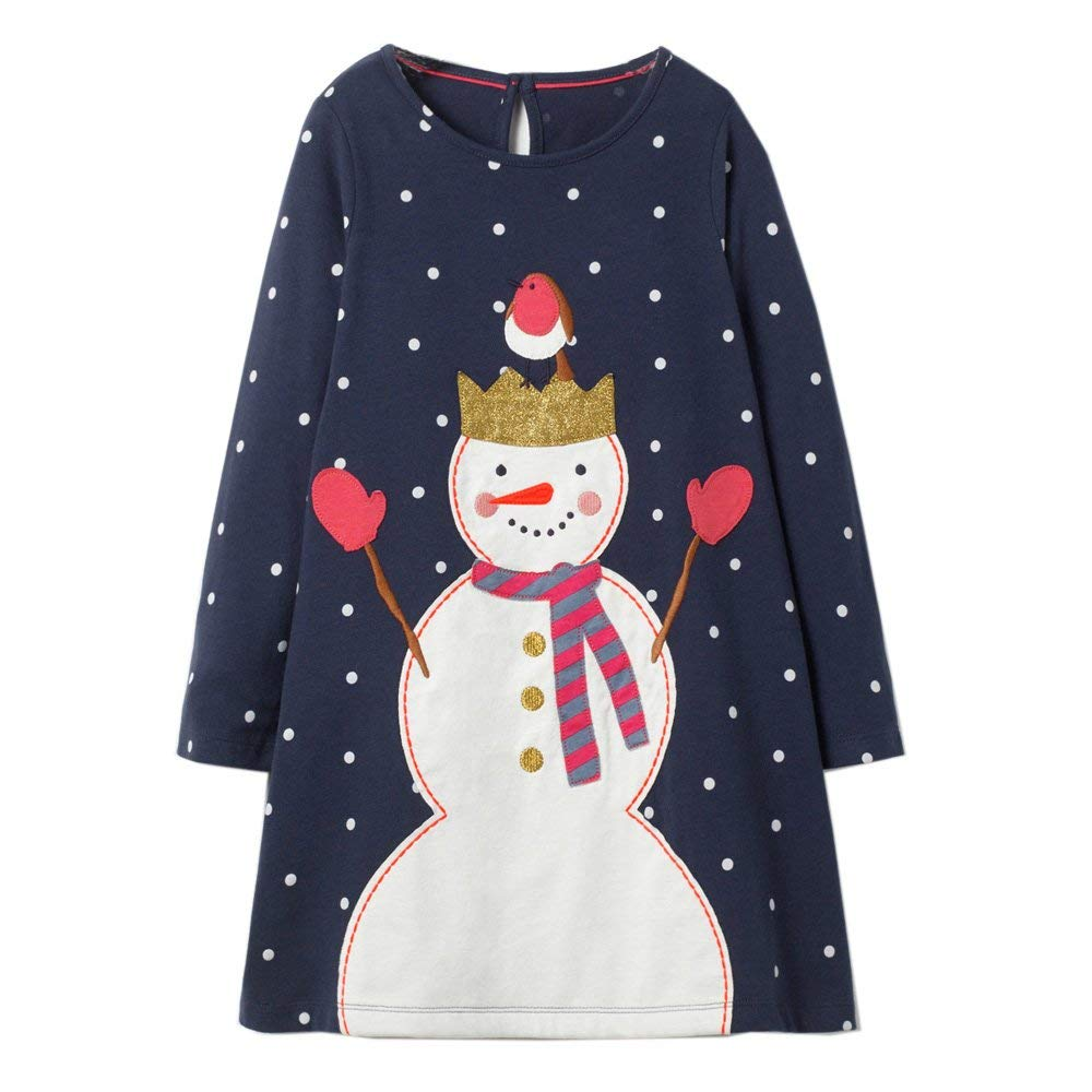Girls Long Sleeve Dress with Animal Applique Princess Dress Baby Girls Clothes Kids Cotton Dresses for Girls Children Clothing toddlers girls dots deer pleated cotton dress long sleeve dresses page 10