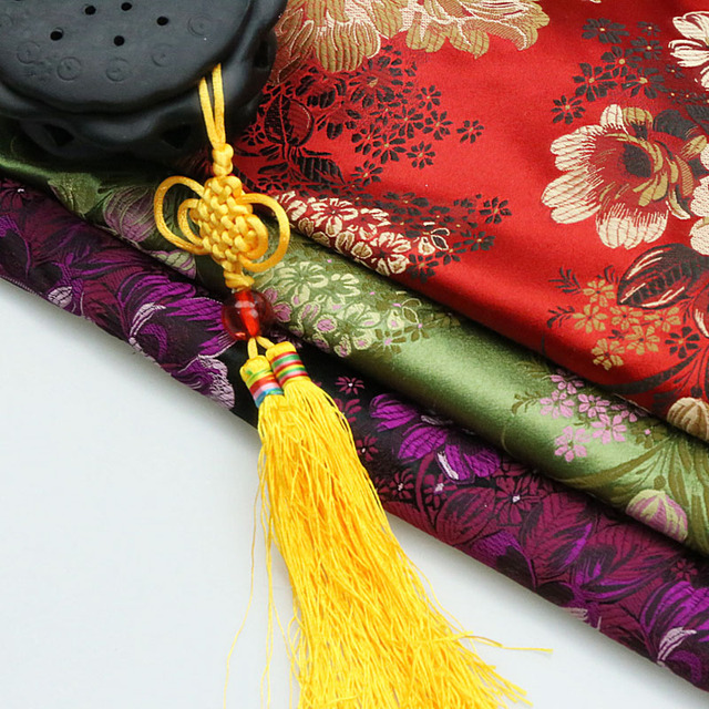 Costume hanfu formal dress baby clothes kimono cos senior cheongsam clothes woven damask jacquard brocade fabric big peony