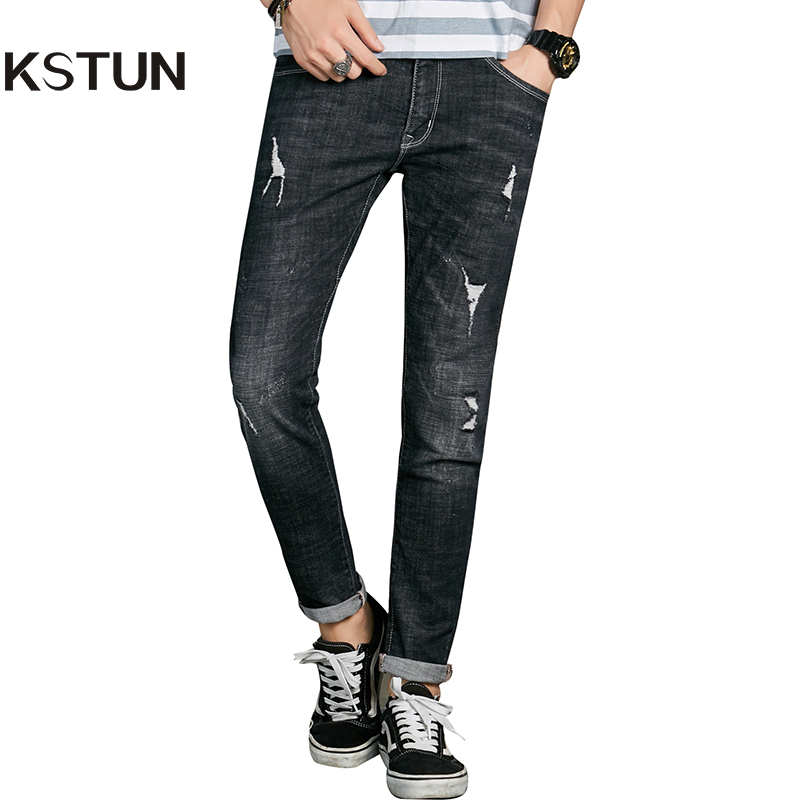 KSTUN Famous Brand Quality Jeans Men Black Skinny Slim High Stretch Ripped Man Jeans with Holes Torn Retro Casual Pencils Pants hot 2017 blue ripped jeans men with holes cowboy super skinny famous designer brand slim fit destroyed torn jean pants for male