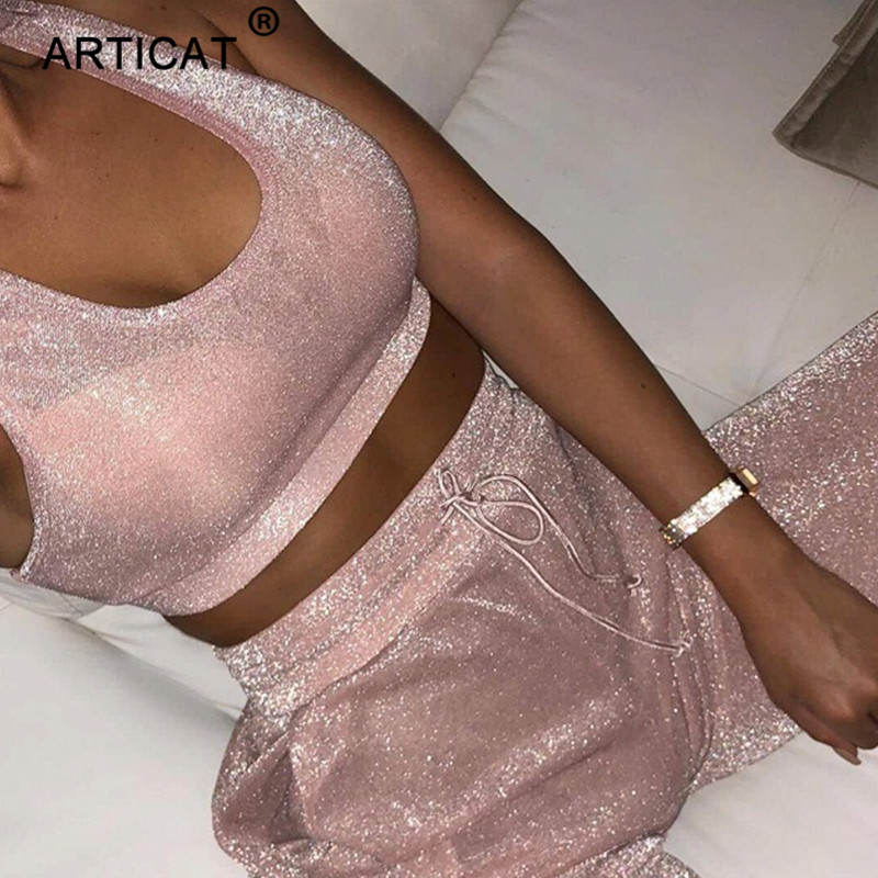 Articat Sparkly Two Piece Set Sexy Bodycon Jumpsuit Women Romper Summer Autumn Crop Top Long Pants Casual Playsuits Overalls