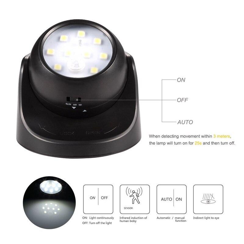 Image 3 - 9 LED Wireless Motion Sensor Night Light 360 Degree Rotation Night Light Night Lamp Wall Light Lamp Battery Power Auto On Off-in LED Night Lights from Lights & Lighting