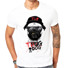 New Arrival Men's T Shirt Summer Short Sleeve Printed T-shirt Gangster dog Of 2017 High Quality white Tops Tees Cool pug Dog