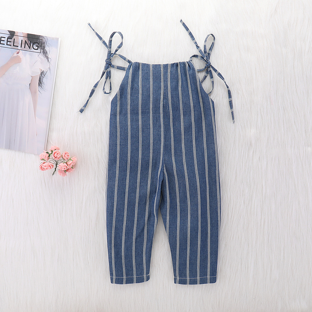 Baby Girl Summer Strap Rompers White Stripes Long Jumpsuit