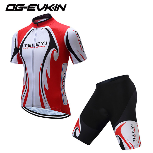 2018 OG-EVKIN NEW Red White Pro Team Cycling Jersey Bib Shorts Kit Men  Cycling b344ff381