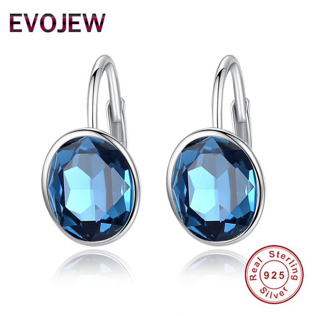 Evojew 925 Sterling Silver Stunning Moonlight Blue Crystal Hoop Earrings For Women Wedding Party Fashion Anniversary