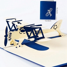 Airplane Model 3D Laser Cut Pop Up Blank Holiday Happy Birthday Greeting Cards Gifts Post