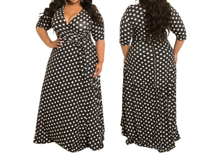 Plus size Long Dress Dot Print Boho Beach Dress Tunic Maxi Dress Women Party Dress Sundress Vestidos de festa 5XL in Dresses from Women 39 s Clothing