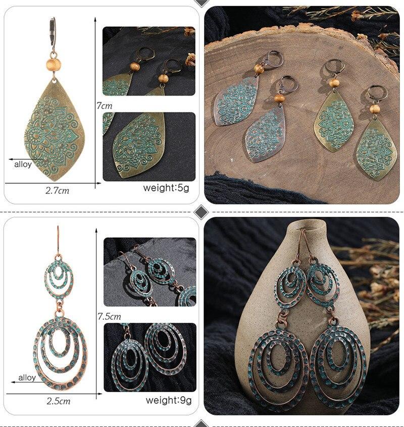 Vintage Bronze Geometric Women's Earrings Jewelry 2019 Long Metal Tass (3)