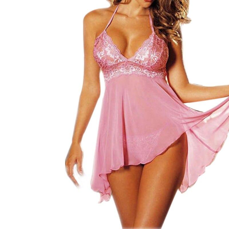 Women\'S Sexy Lingerie V-Neck Lace Lingerie Sexy  Erotic Nightwear Sleepwear Dress Babydoll G-String Sexy Underwear