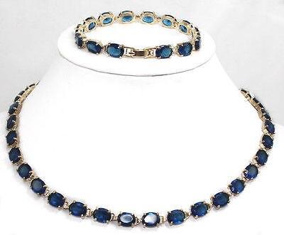 Vente chaude Livraison Gratuite>> Bijoux De Mode Véritable Foncé bleu Tourmaline Tanzanite 18 K GP Collier bracelet
