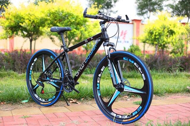 Горный велосипед 26 дюймовый стальной 24-скорость высокоуглеродистой стали двухдисковые тормоза с переменной скоростью дорожные велосипеды спортивный велосипед