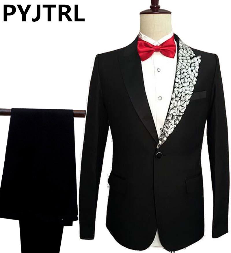 PYJTRL Mens Fashion Crystal Lapel Black Suits Stage Singer Moderator Wedding Bridegroom Prom Dress Suit Costume Homme Slim Fit