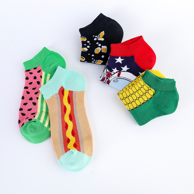 Jhouson New Arrival Men's Combed Cotton Summer Ankle  Watermelon Corn Pattern Colorful Novelty Casual Boat Socks 4