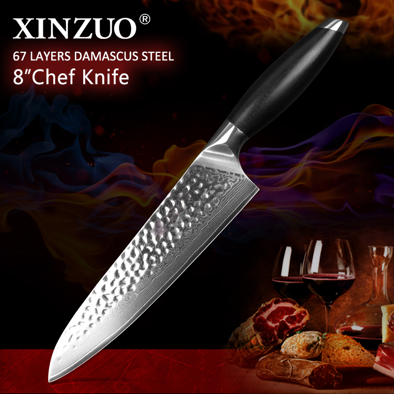 """XINZUO 8"""" chef knives high quality fashion 67 layers Japanese VG10 Damascus steel kitchen knife woman chef knife with G10 handle"""