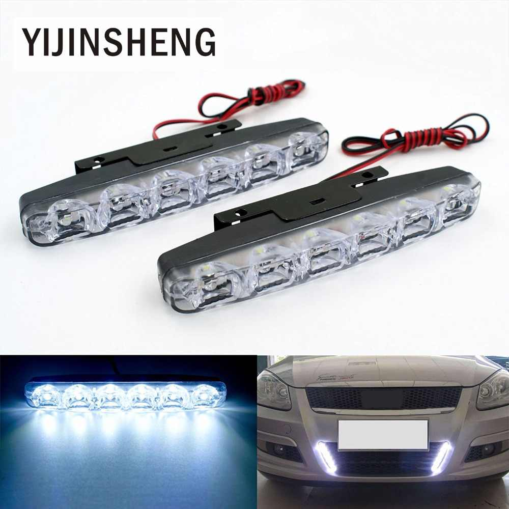 YIJINSHENG 2PCS Universal Fit  6 LED Car Daytime Running Lights DRL DC 12V LED Steering Lamp Automobile Light Source Xenon White
