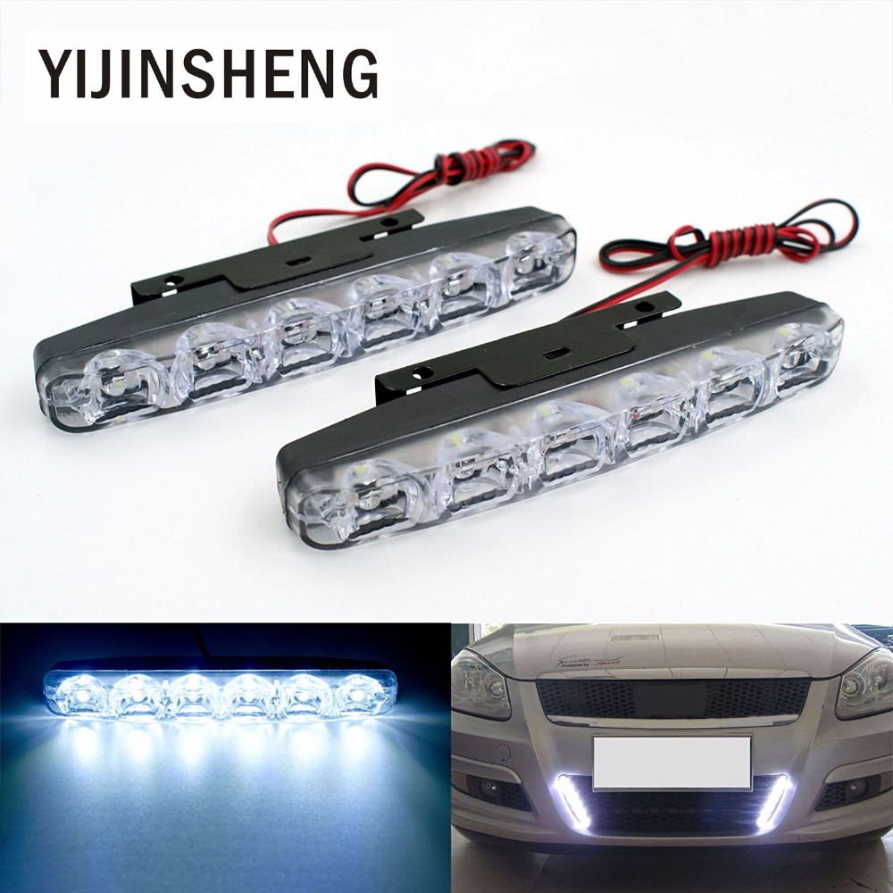 YIJINSHENG 2PCS Universal Fit  6 LED Car Daytime Running Lights DRL DC 12V LED Steering Lamp Automobile Light Source Xenon White 4in1 daytime running light 12v 12w led car emergency strobe lights drl wireless remote control kit car accessories universal