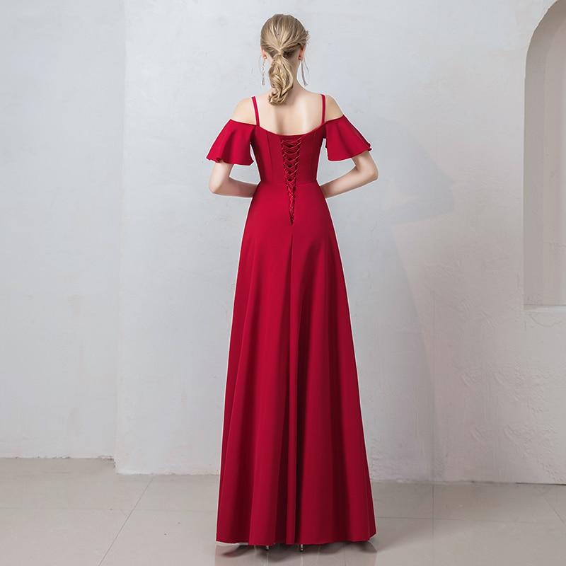Burgund Satin Prom Kleider Spaghetti Strap Gala Jurken Boot ausschnitt Vestido De Festa Kurzarm Prom Kleid Frauen Abendkleid - 5