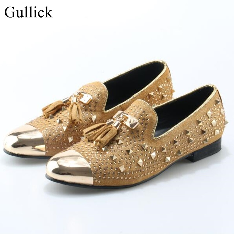 Gullick Men Flat Loafers Gold Crystal Bling Bling Rhinestone Leather Dress Shoes For Mens Slip On Flats Business Shoes Size 46