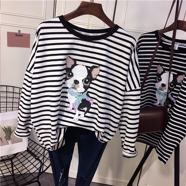 2019 New Autumn Striped Thick Tee Shirt Long Sleeve O Neck Cute Painting Loose Casual Pullovers Tops Teenager Oversize
