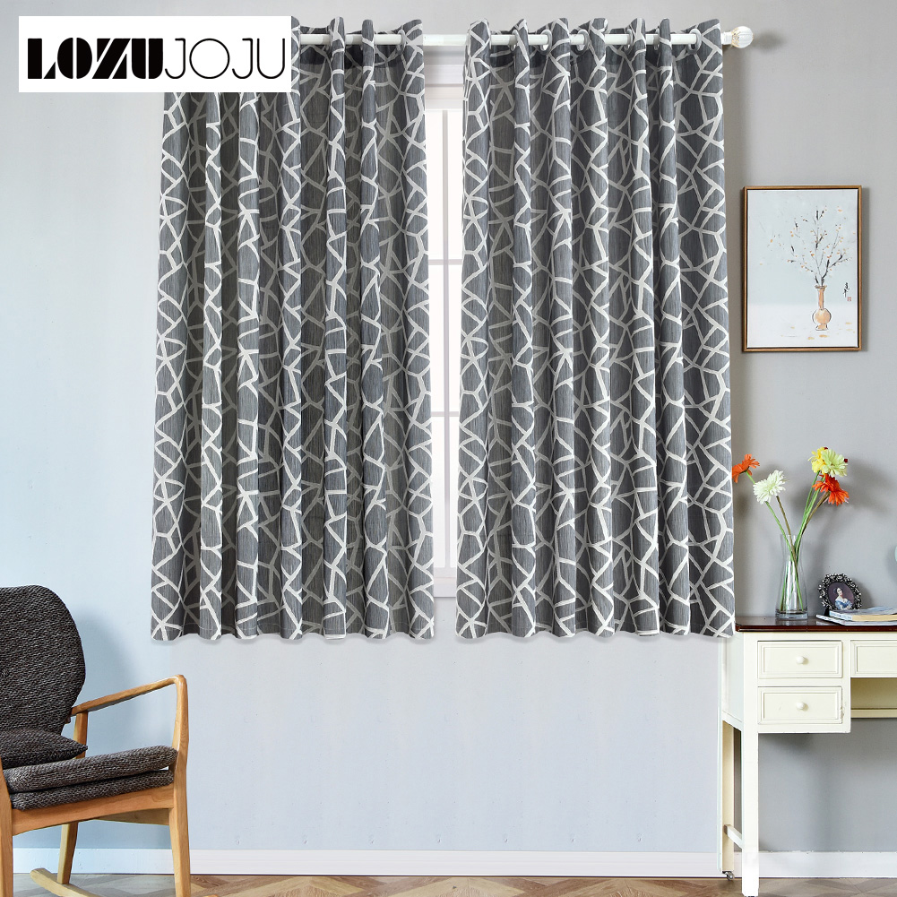 US $12.36 49% OFF|1 piece Short semi blackout curtains bedroom window  modern curtain ready made living room kitchen window grommet top  treatments-in ...