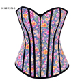 Kimring Sexy Burlesque Overbust Corsets Fantasy Women's Corset Bustiers Floral Bustiers Cincher Shaper Corselet Zipper Front