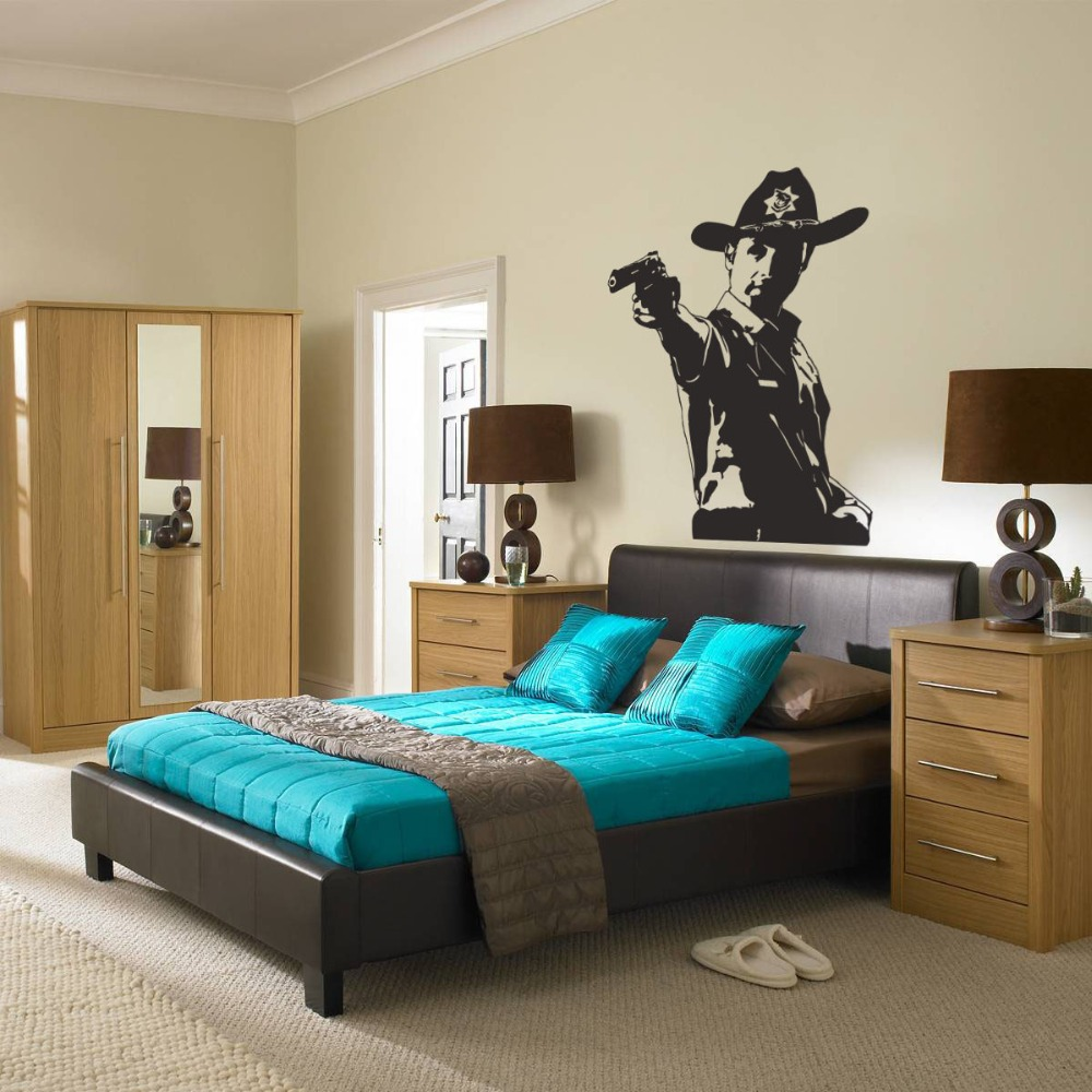 compare prices on cowboy bedroom decor online shopping buy low american style home bedroom art decorative wall stickers cowboy with handgun removable art wall decals special