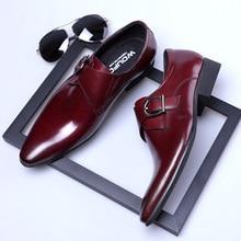 QYFCIOUFU Famous Mens Monk Strap Genuine Leather Shoes Luxury Brand Black Men Party Wedding Dress Shoe Business Pointy Shoes