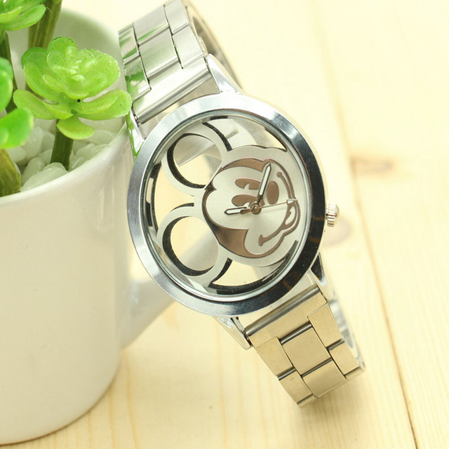 2018 Cartoon Watch Hollow out mickey Fashion Children Kids Students Watches Anal