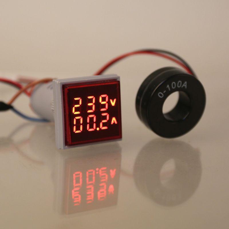 Square LED Digital Voltmeter Ammeter Signal Lights Volt Voltage Current Combo Meter Indicator Tester Measuring AC 60-500V 0-100A