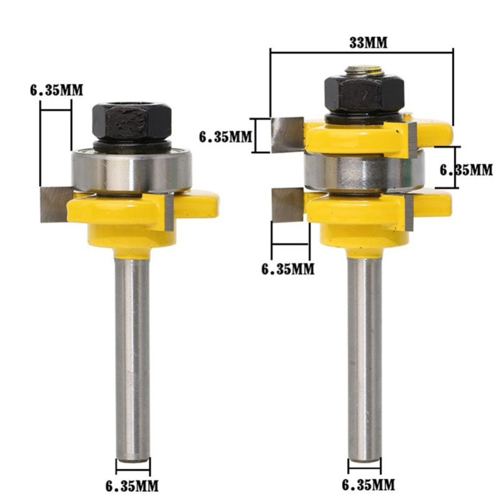 3 Teeth T-shape Tongue and Groove Router Bit Set 1/4-Inch Shank or 1/2-Inch Shank Wood Milling Cutter Woodworking Tool 2pcs hot sale tenon cutter floor wood drill bits groove and tongue router bit 1 4 t type shank 3 teeth milling cutter for wood