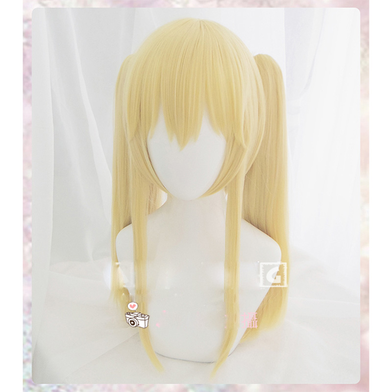 Anime Kakegurui Saotome Meari Cosplay Wigs Halloween Women/Girls Light Gold Long Ponytail Hair + wig cap