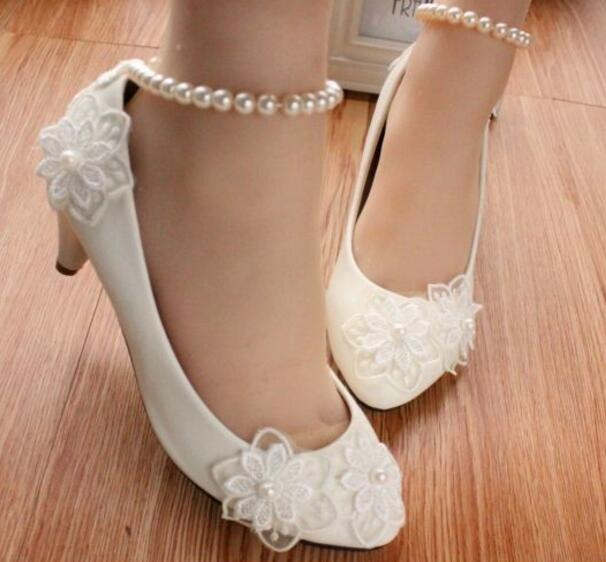 Middle heel white lace wedding shoes women ankle beading pearls straps  brides sweet handmade pumps shoes lady party pumps eeb06aaa501e