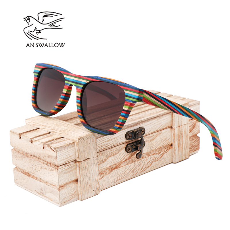 7f826a6918 Detail Feedback Questions about AN SWALLOW Skateboard Wooden Sunglasses  Blue Frame With Coating Mirrored Bamboo Sunglasses UV 400 Protection Lenses  in ...